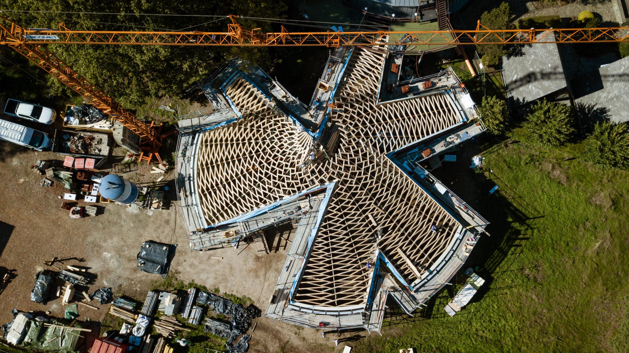 reciprocerende dakconstructie voor het Frans Masereel museum in Kasterlee